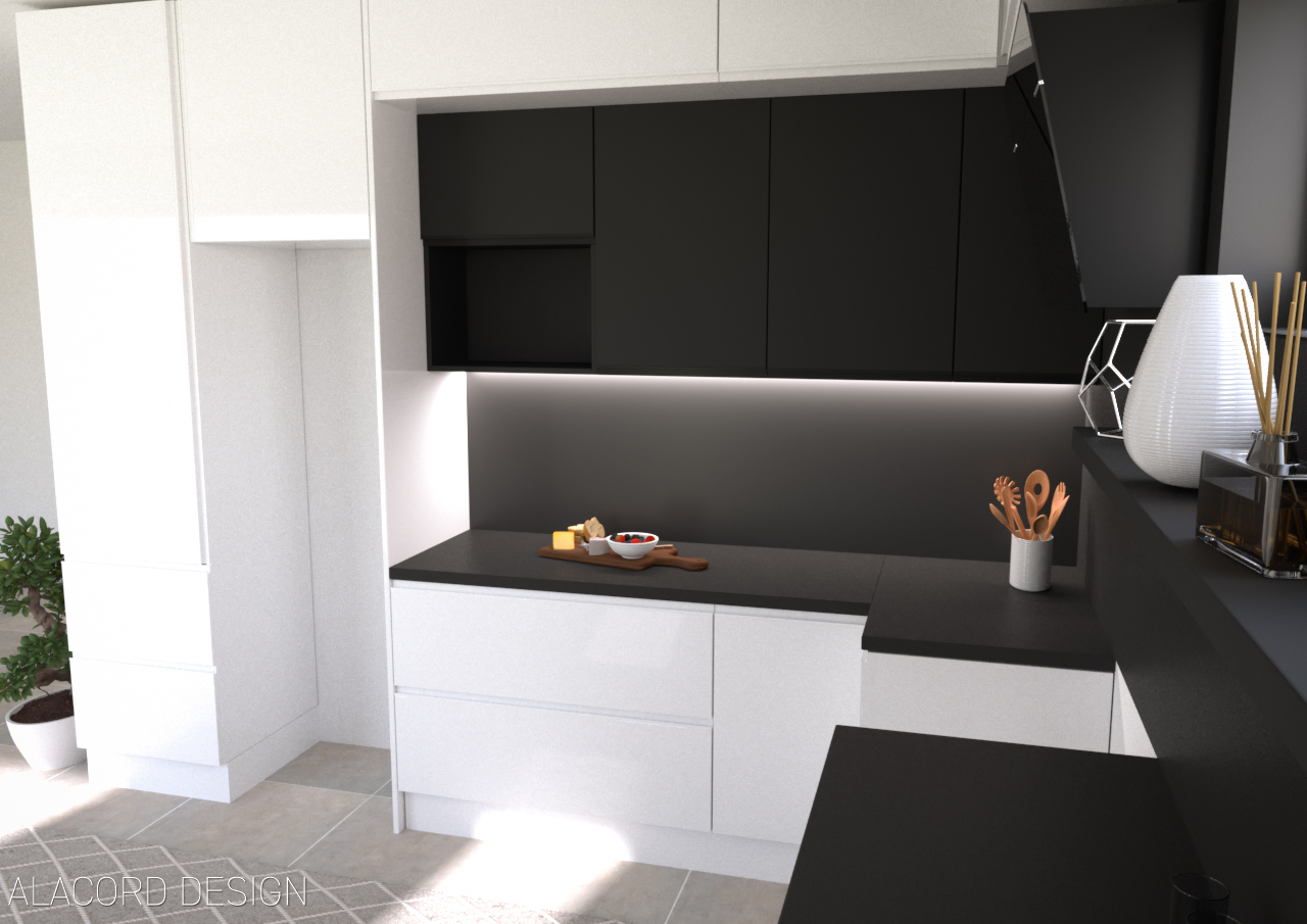 Alacord fekete fehér konyha