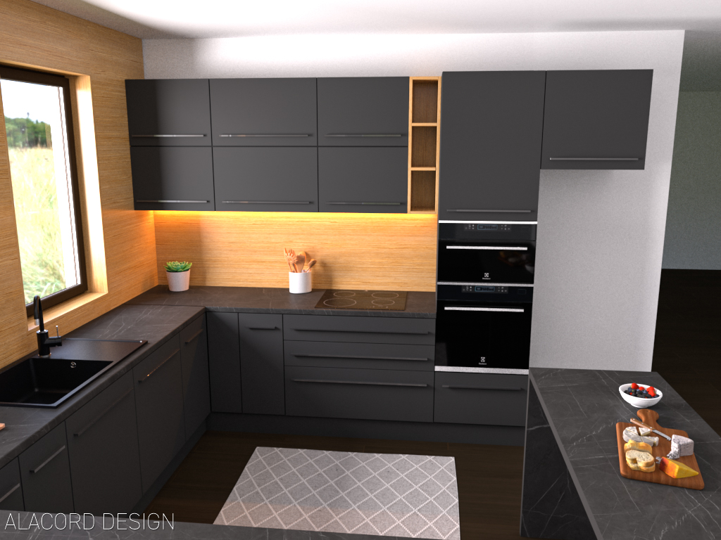 Alacord sötét szürke tölgy konyha