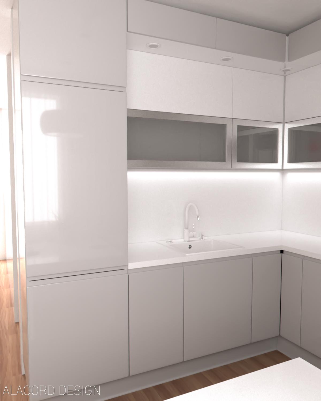 Alacord szürke fehér magasfényű konyha