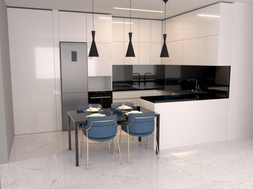 Alacord fekete fehér magasfényű konyha