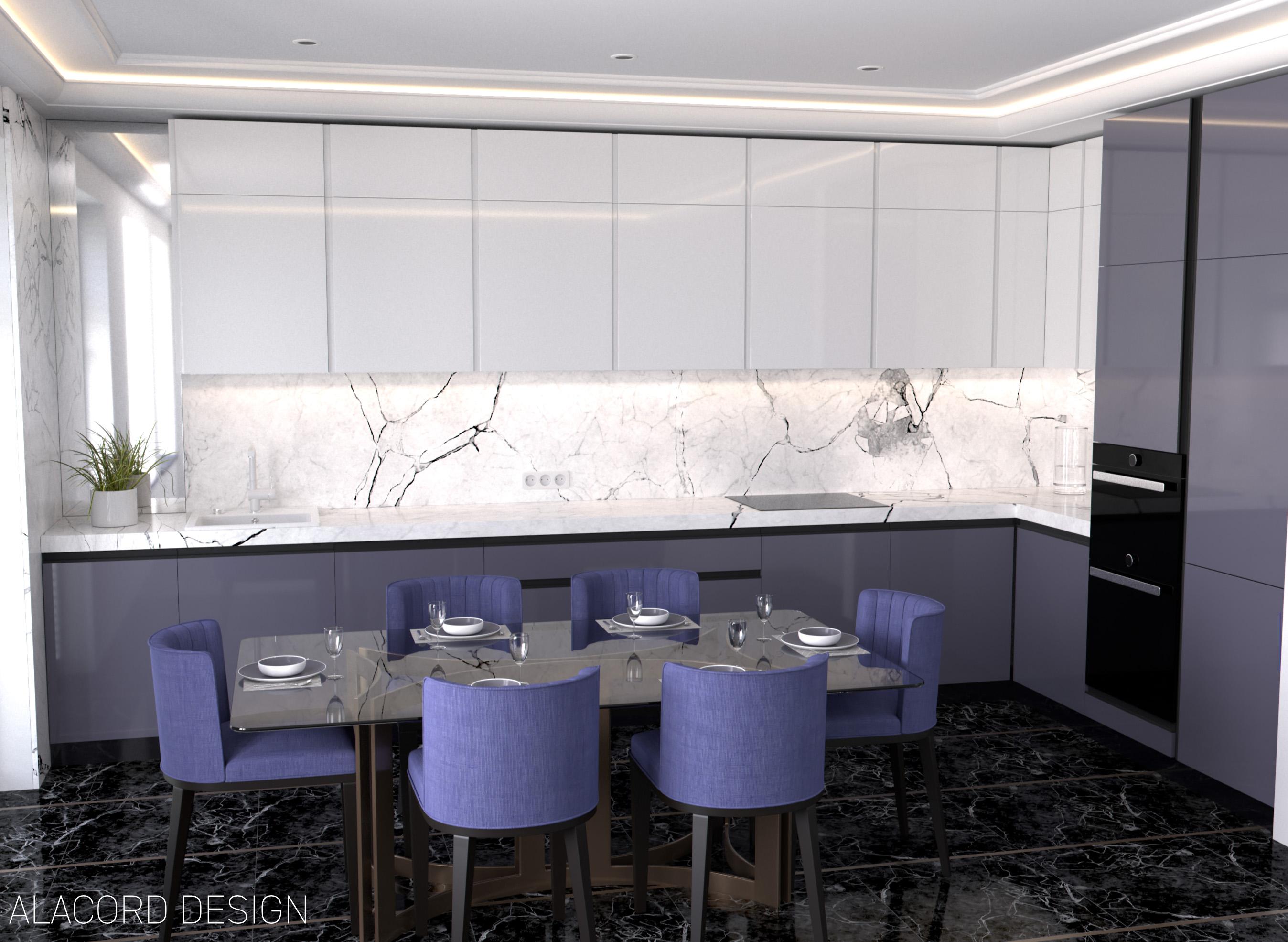 Alacord le violet lila fehér magasfényű konyha